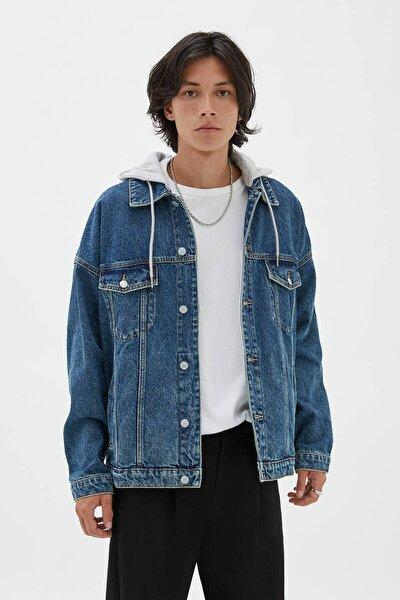 Pull & Bear Oversize Kontrast Denim Ceket