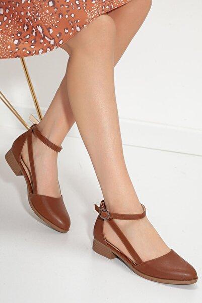 MaskButik Kadın Taba Rayna Kısa Topuk Cilt Ayakkabı