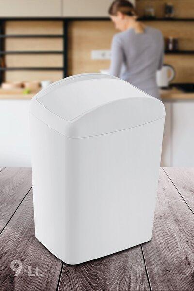 Doreline Soft Plastik Midi Çöp Kovası 9 Lt. Beyaz, Döner Kapak Midi Çöp Kovası