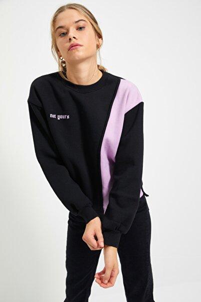 TRENDYOLMİLLA Siyah Ön ve Sırt Baskılı Basic Örme Şardonlu Sweatshirt TWOAW21SW0150