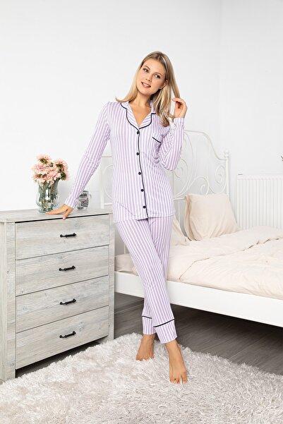 MyBen Beyaz Mor Renkli Çizgili Pamuklu Likralı Gömleği Düğmeli Biyeli Pijama Takımı 70054