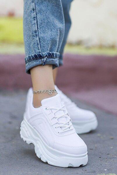 Mamito Ayakkabı Peri Tabanlı Spor Ayakkabı Beyaz Deri