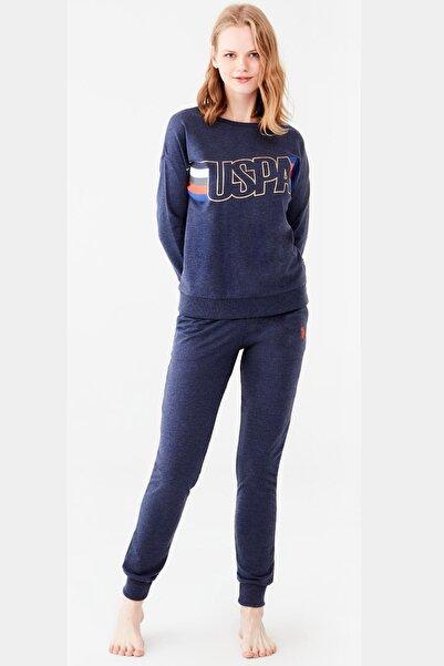 U.S. Polo Assn. Lacivert Kadın Dar Paça Yazı Baskılı Pijama Takım