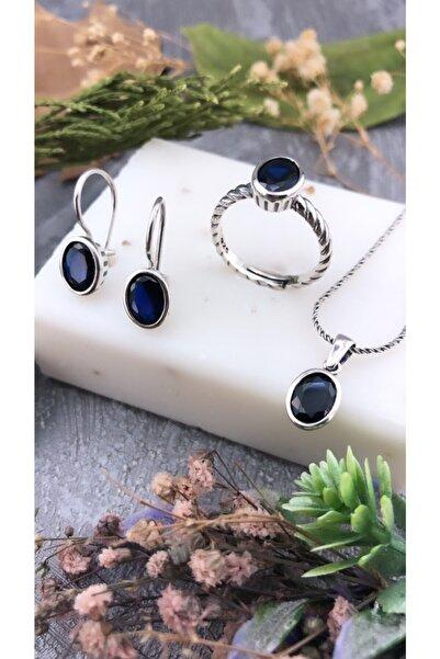Joel Jewelry Safir Taşlı Otantik Tasarım El Yapımı Gümüş Set
