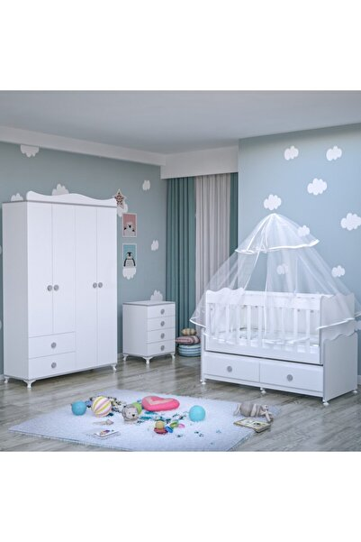 Garaj Home Elegant Yıldız 4 Kapaklı Bebek Odası Takımı - Yatak Ve Uyku Seti Kombinli-gri - Gri Uykusetli