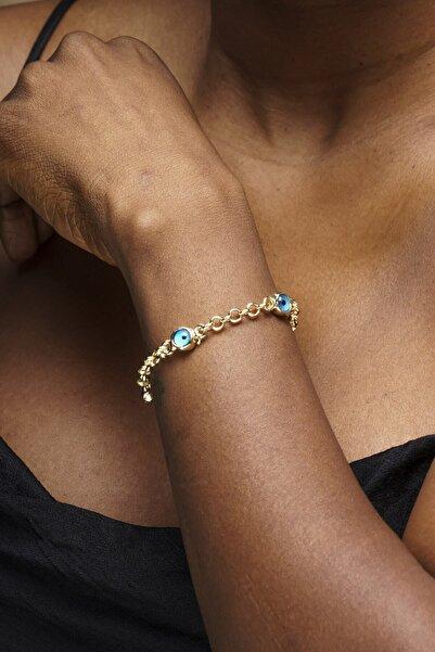 YamanUslu Aksesuar Kadın Altın Renk Zincir Nazar Boncuklu Bileklik