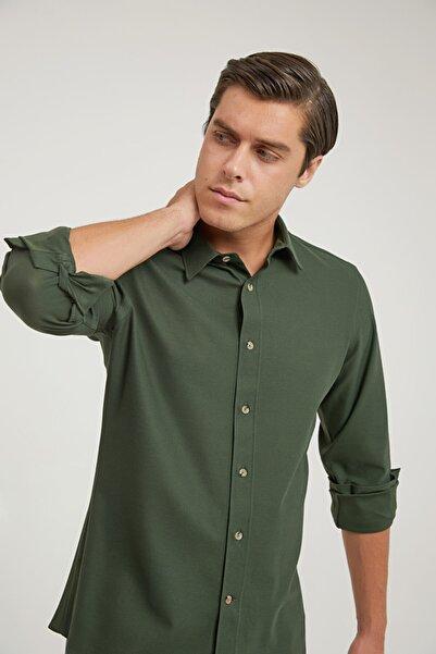 Damat Damat Slim Fit Haki Örme Gömlek
