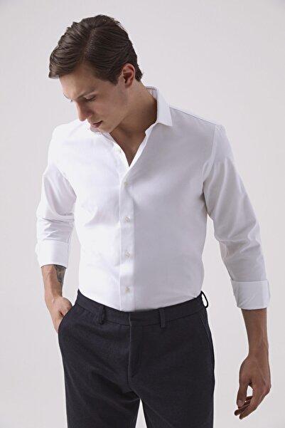 Damat Erkek Slim Fit Beyaz Gömlek