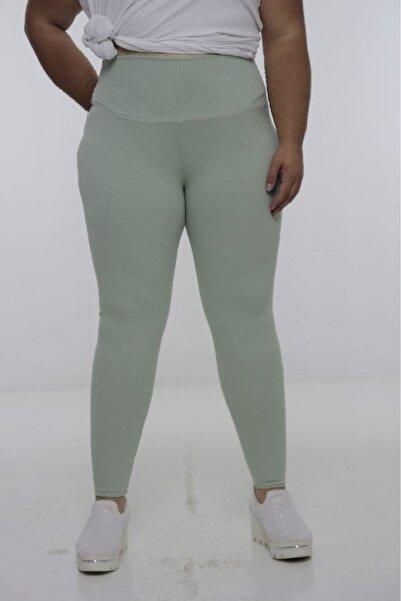 Truva XXL Büyük Beden Kadın Giyim Fitilli Tayt Mint Yeşili