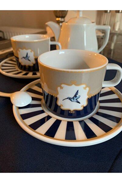 Merlins Concept Porselen Mavi Beyaz Marin Çizgili Çay Fincanı