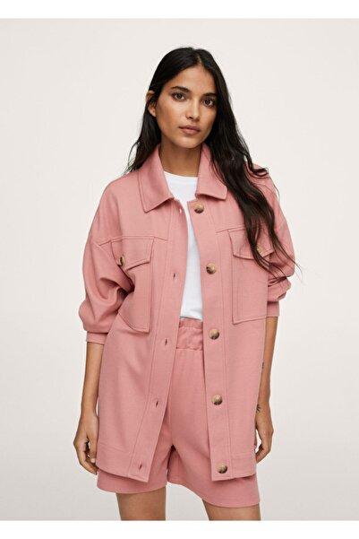 MANGO Woman Kadın Pembe Göğsü Cepli Koton Gömlek Ceket