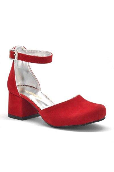 Sarıkaya Kırmızı Süet Kalın Topuklu Kız Çocuk Topuklu Ayakkabı
