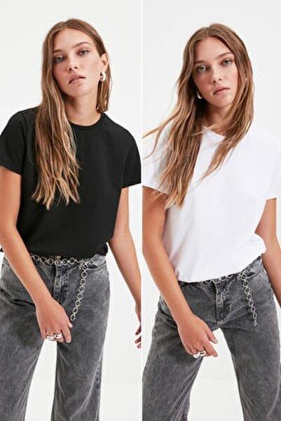 Siyah ve Beyaz %100 Pamuk Bisiklet Yaka 2'li Paket Örme T-Shirt TWOSS20TS0141