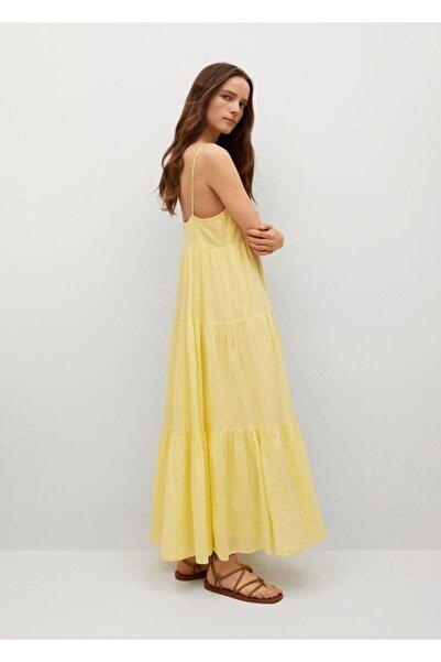 MANGO Woman Kadın Sarı Fırfırlı Koton Elbise