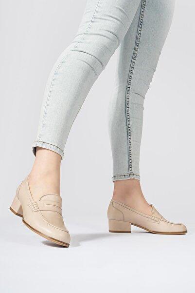 CZ London Kadın Hakiki Deri Topuklu Loafer Yuvarlak Burun Ayakkabı