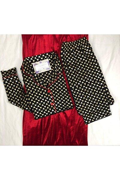 Meba Kadın Uzun Kollu Önden Düğmeli Siyah Pijama Takımı