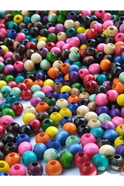 Selin 6 Mm Karışık Renk Ahşap Boncuk 80 Gr ( 700 Ad.)
