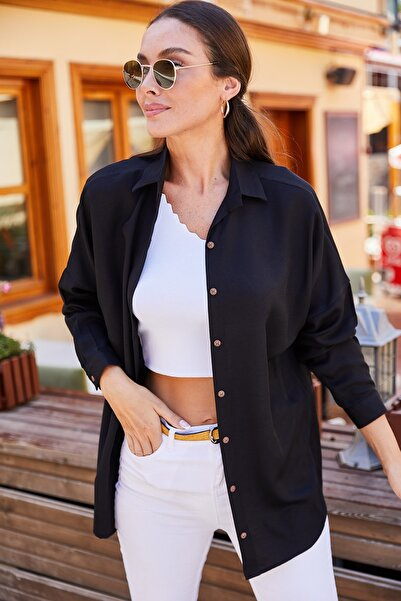 armonika Kadın Siyah Oversize Uzun Basic Gömlek