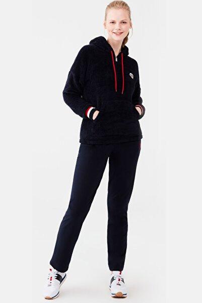 U.S. Polo Assn. Kadın Lacivert Polar Kapşonlu Üst Pamuklu Alt Pijama Takım