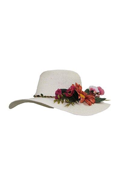 Bay Şapkacı Kadın Çiçekli Hasır Şapka 3869 Beyaz
