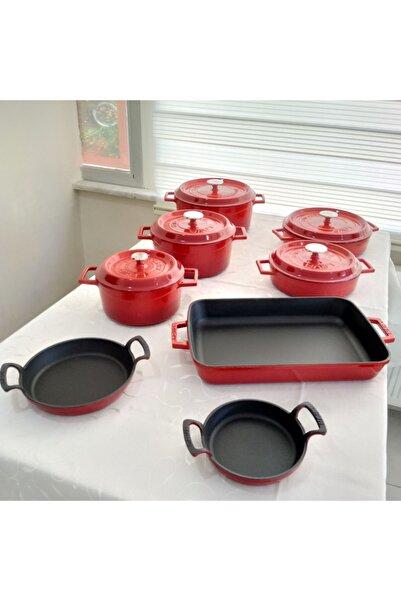 Lava Döküm Sekizli Tencere Tava Seti Trendy Kırmızı Silikon Tutacak Hediyeli