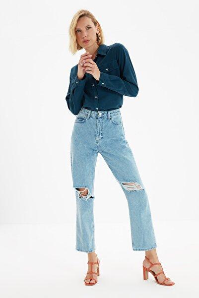 TRENDYOLMİLLA Mavi Yırtık Detaylı Yüksek Bel Straight Jeans TWOAW21JE0120