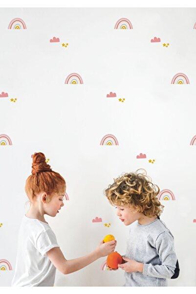 Sticker Sepetim Duvar Sticker Çocuk Odası - Soft Renkli Gökkuşakları Bulutlar Ve Yıldızlar
