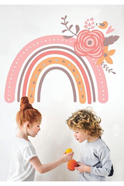 Sticker Sepetim Çocuk Odası Duvar Sticker Soft Renkli Çiçekli Gökkuşağı