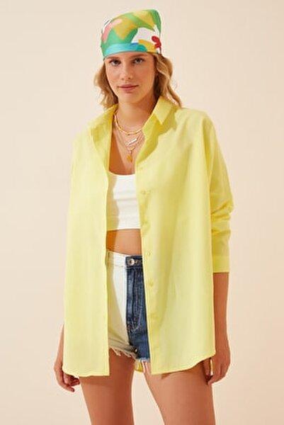 Kadın Açık Sarı Oversize Uzun Basic Gömlek  DD00842