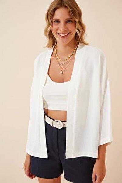 Kadın Beyaz Yazlık Basic Ayrobin Ceket DD00976