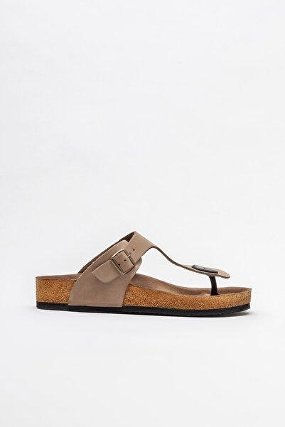 Elle Shoes Vizon Deri Kadın Düz Terlik
