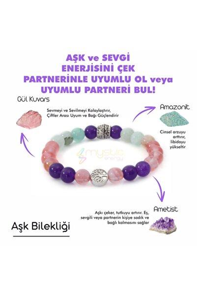 Mystic Energy Doğal Taş Aşk, Sevgi, Çiftler Arası Uyum Bilekliği (ametist Pembe Kuvars Amazonit Doğaltaş Bileklik)