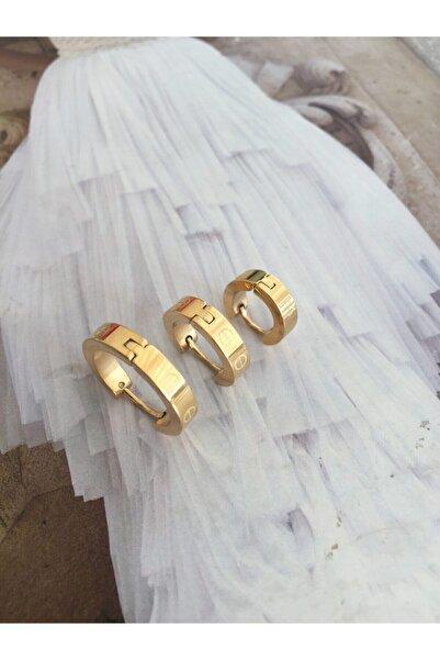 ACCESSORIES WORLD Kadın  Çelik 3 Lü Gold Renk Cartier Küpe Seti