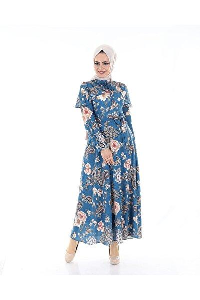 TMR Kadın Mavi Çiçekli Astarlı Şık Elbise