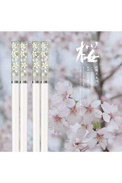 Kpop Dünyasi Amber Sakura Desenli Chopsticks Beyaz - Yeşil