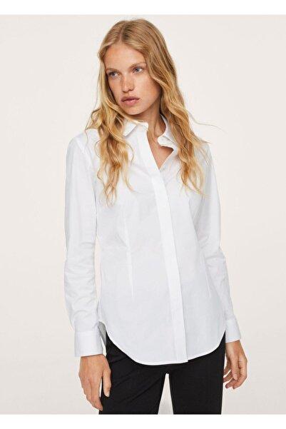 MANGO Woman Kadın Kırık Beyaz Gündelik Pamuklu Gömlek