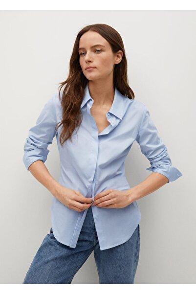 MANGO Woman Kadın Gök Mavisi Gündelik Pamuklu Gömlek