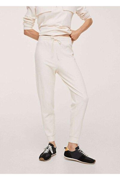 MANGO Woman Kadın Kırık Beyaz Jogger Tarz Pamuklu Pantolon