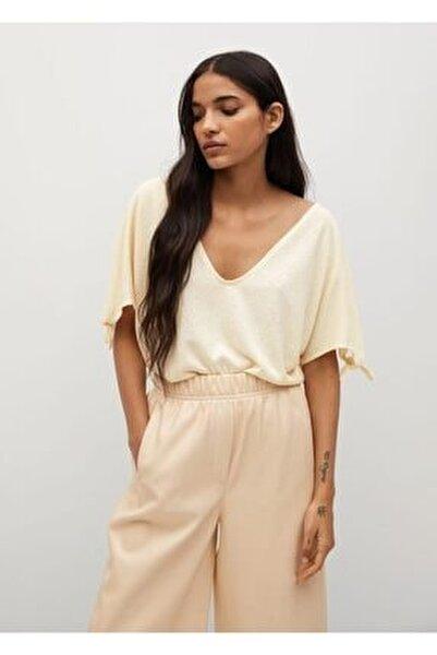 Kadın Bej Düğümlü Jarse Tişört