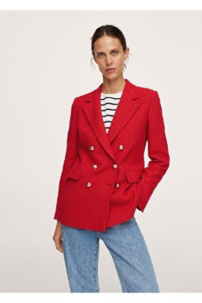MANGO Woman Kadın Kırmızı Düğmeli Tüvit Blazer Ceket