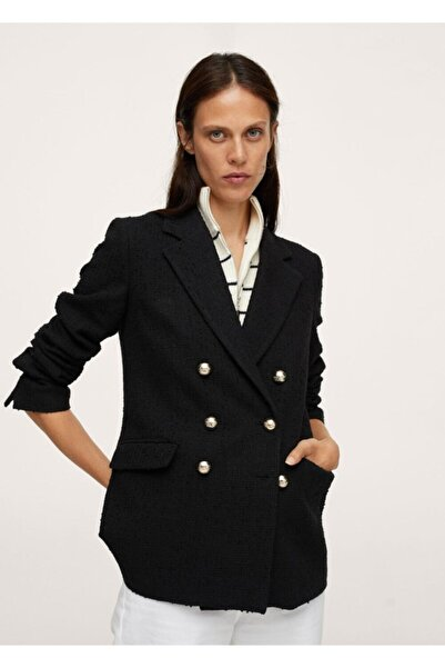 MANGO Woman Düğmeli Tüvit Blazer Ceket