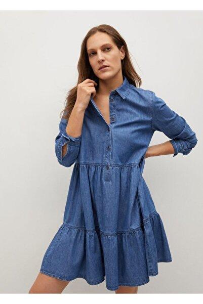 MANGO Woman Kadın Donuk Mavi Fırfırlı Pamuklu Elbise