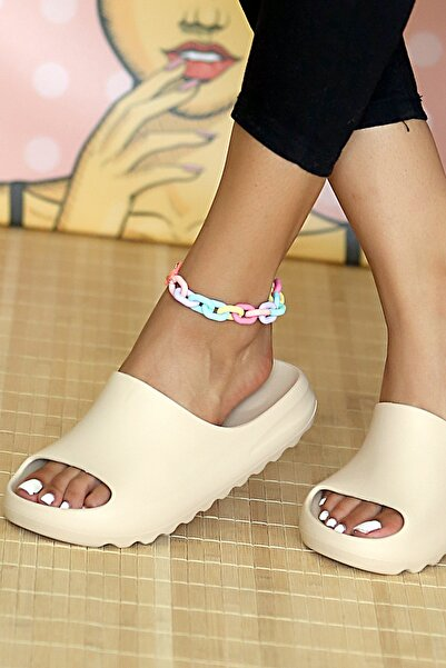 Pembe Potin Kadın Krem Sandalet