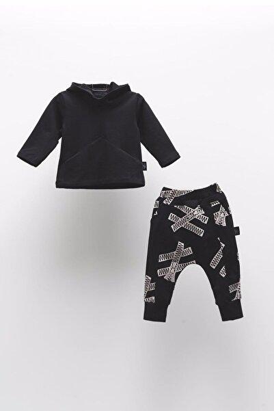Moi Noi Kapüşonlu Pantolonlu Desenli Bebek ve Çocuk Takım