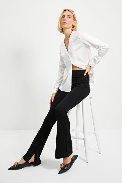 TRENDYOLMİLLA Siyah Flare Örme Pantolon TWOAW22PL0184