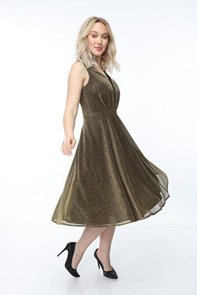 Asees Kadın Gold Önü Pileli Askılı Kısa Elbise