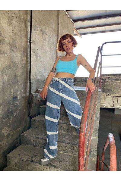 Fineapple Kadın Mavi Yüksek Bel Wide Leg Jean
