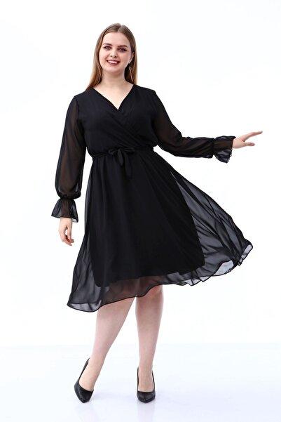 Moday Uzun Kol Büyük Beden Şifon Elbise 30a-1809