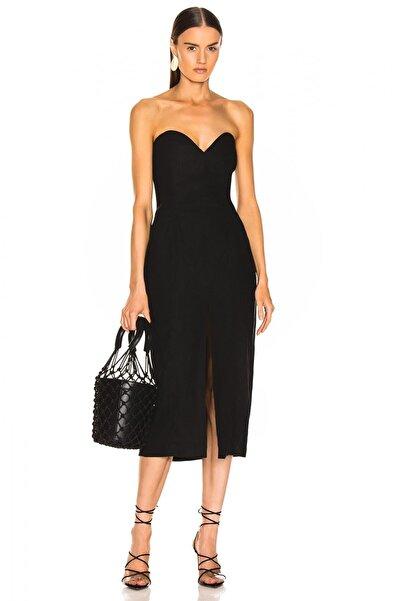 By Umut Design Kadın Önden Yırtmaçlı Straplez Elbise 4537821