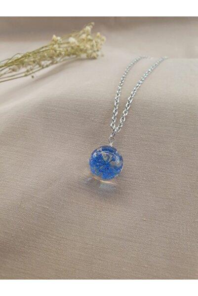 Dukkanka Yaşayan Mavi Çiçek Gümüş Renk Kolye